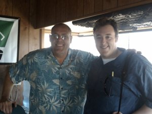 Vic and I in the booth at Hollywood Park, 2009