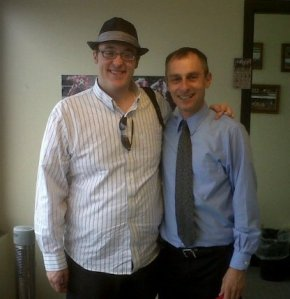Robert Geller (right) and me up in the booth at Emerald Downs